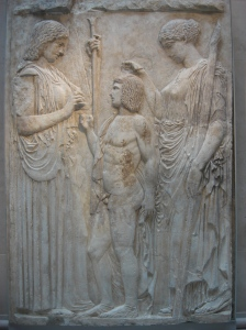 Demeter, Triptolemus, Persephone, Augustan copy of 5th century BC Greek marble. Metropolitan, NY