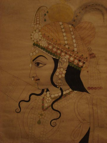 Head of Krishna made in preparation for a mural, Jaipur, Rajasthan, 1800
